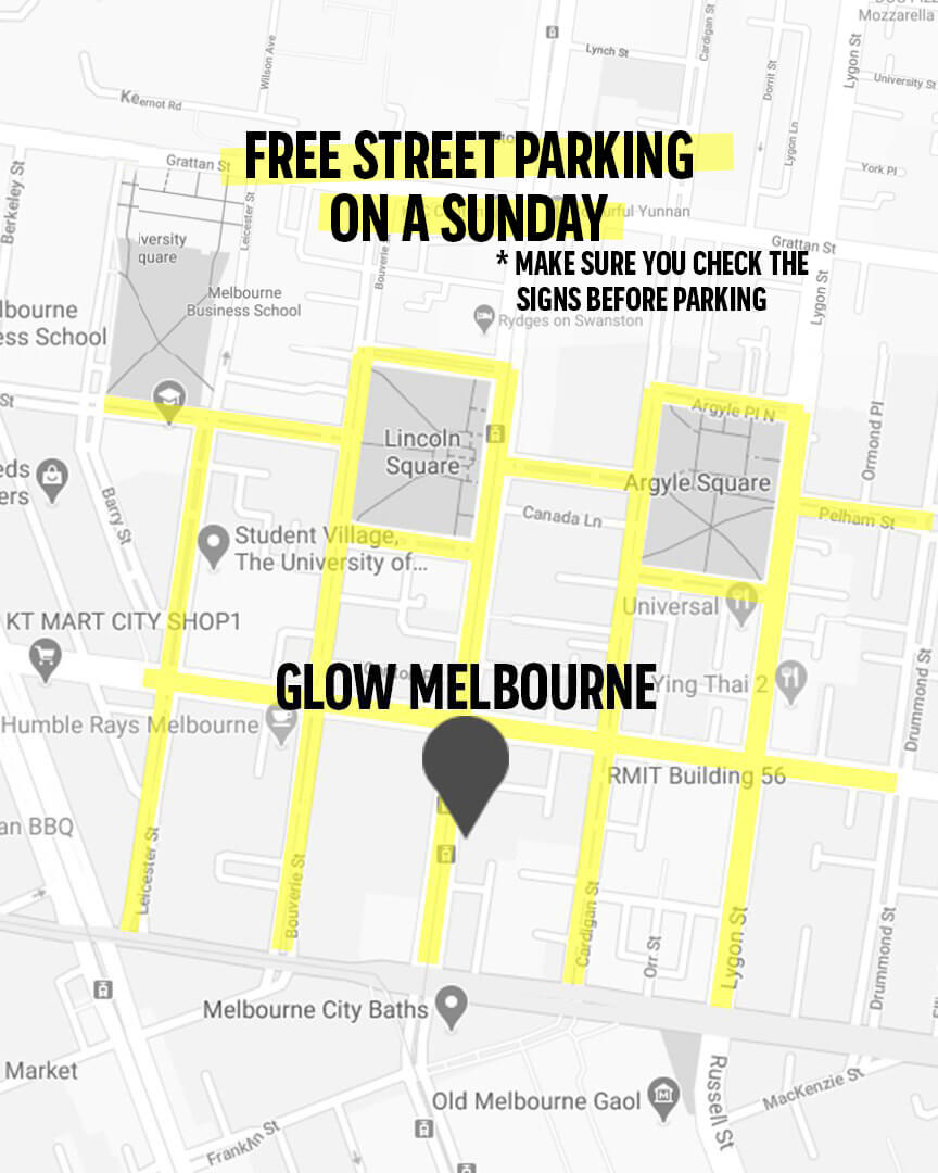 Glow Church Melbourne Parking Map