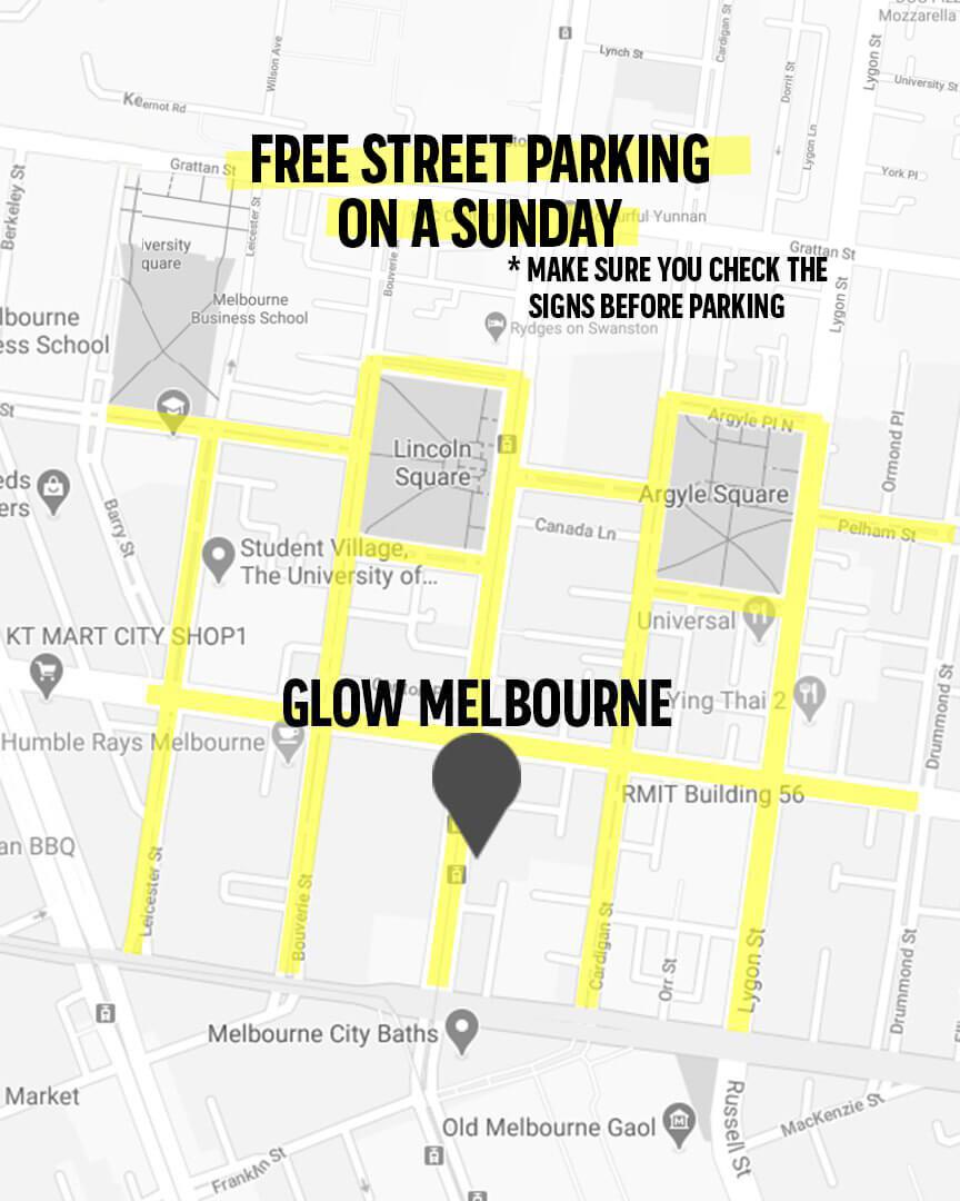 Glow Church Melbourne Parking Map